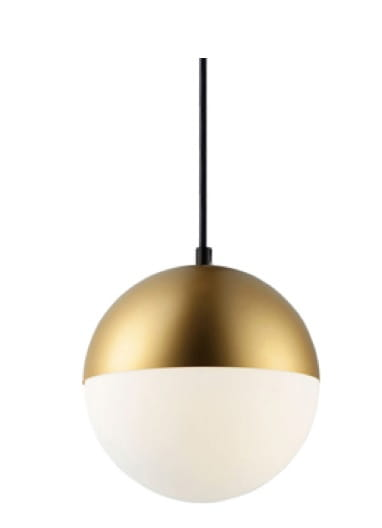 White Brass Ball lampa wisząca kula w kolorze białym i